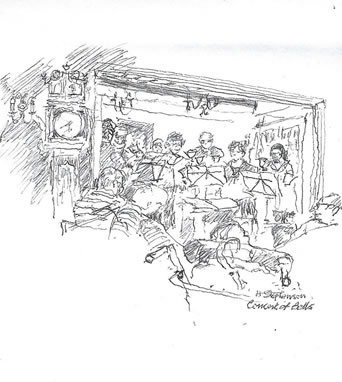 sketch of bell ringers